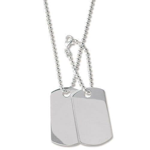 """Sterling Silver Double Dog Tag 24"""" Ball Chain Hallmarked 25 Grams Free Engraving"""